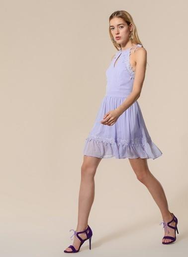 Agenda Dantel Detaylı Elbise Lila